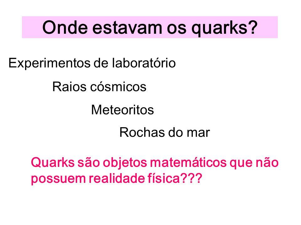 Onde estavam os quarks Experimentos de laboratório Raios cósmicos