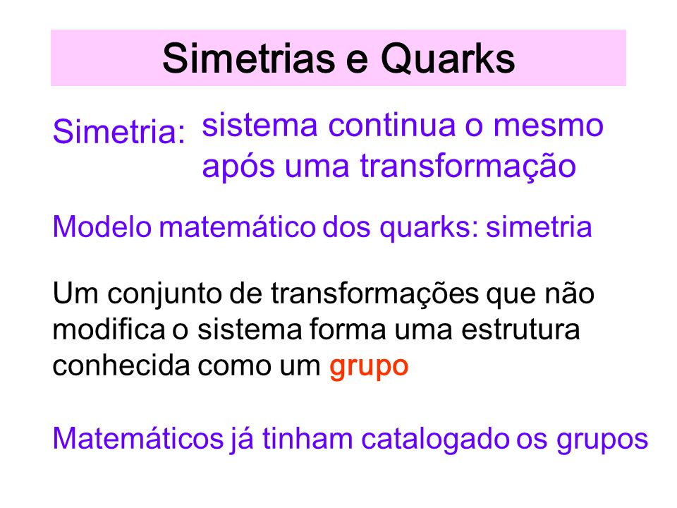 Simetrias e Quarks sistema continua o mesmo após uma transformação
