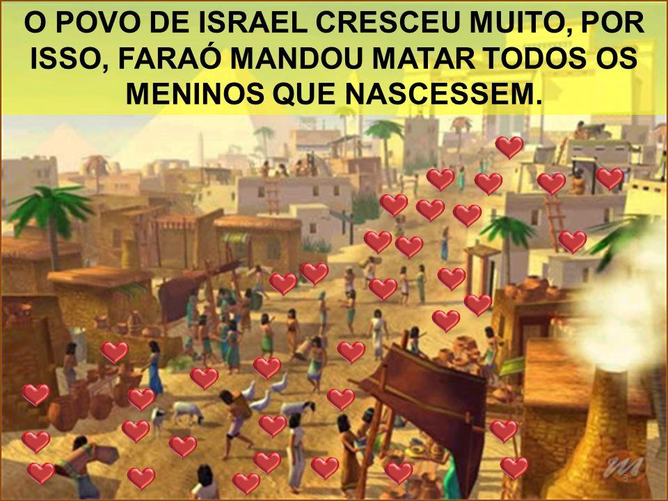 O POVO DE ISRAEL CRESCEU MUITO, POR ISSO, FARAÓ MANDOU MATAR TODOS OS MENINOS QUE NASCESSEM.
