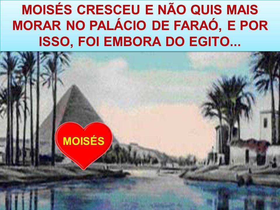 MOISÉS CRESCEU E NÃO QUIS MAIS MORAR NO PALÁCIO DE FARAÓ, E POR ISSO, FOI EMBORA DO EGITO...