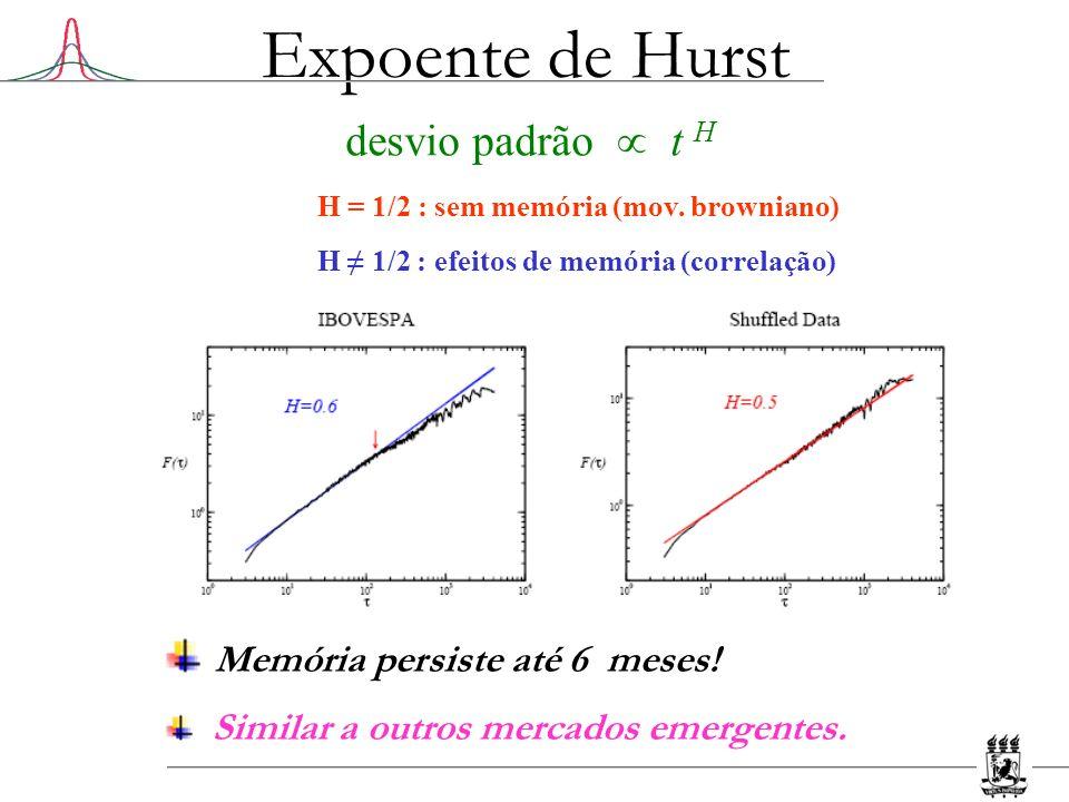 Expoente de Hurst Memória persiste até 6 meses! desvio padrão  t H