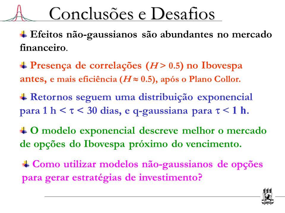 Conclusões e Desafios Efeitos não-gaussianos são abundantes no mercado financeiro.