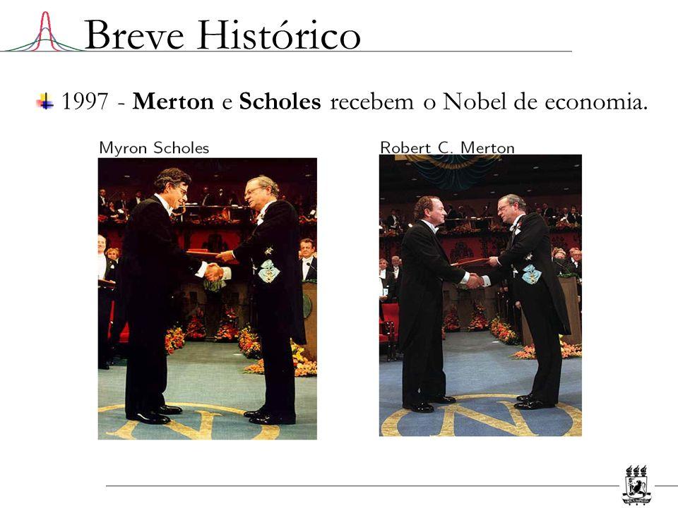 Breve Histórico 1997 - Merton e Scholes recebem o Nobel de economia.