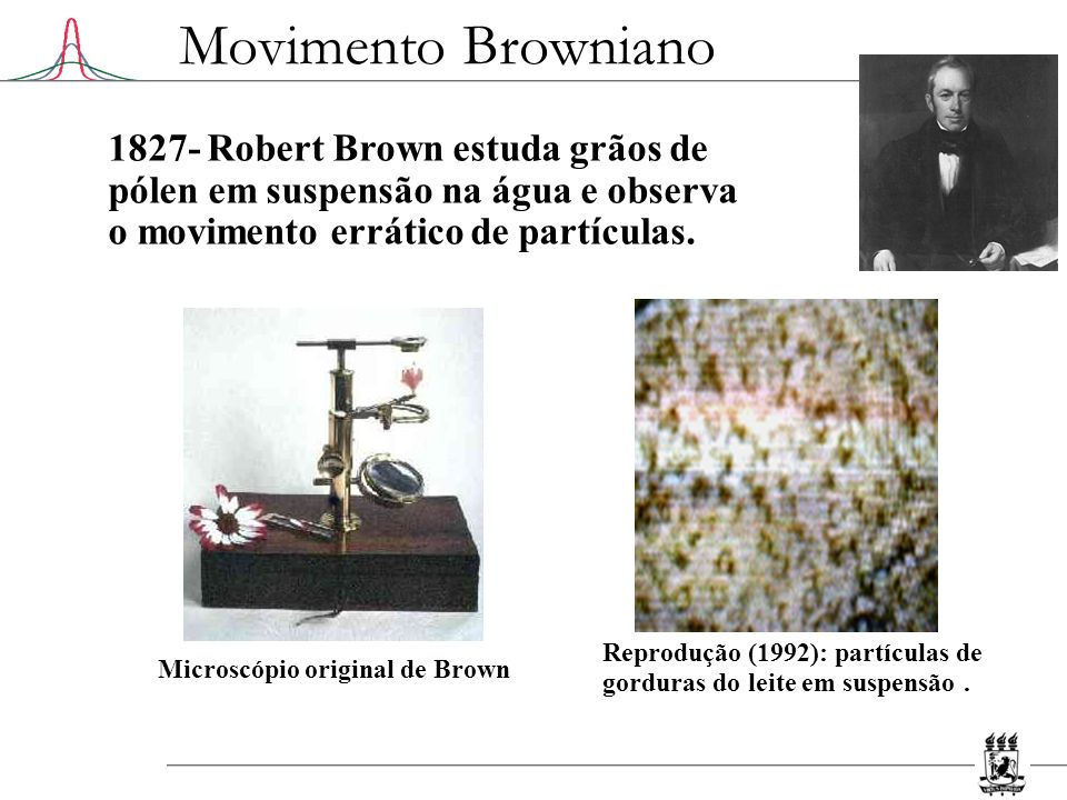 Movimento Browniano 1827- Robert Brown estuda grãos de pólen em suspensão na água e observa o movimento errático de partículas.