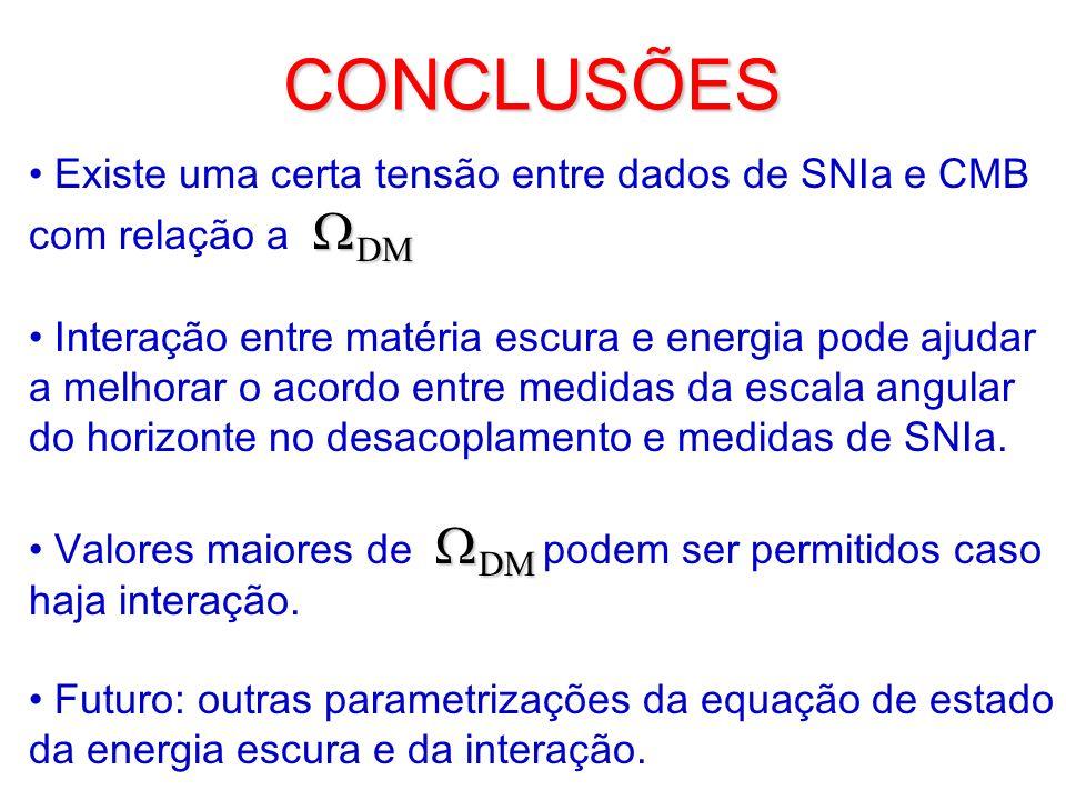 CONCLUSÕES Existe uma certa tensão entre dados de SNIa e CMB