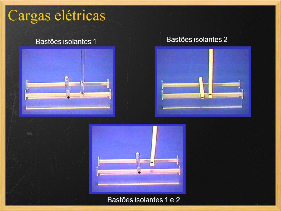 Cargas elétricas Bastões isolantes 2 Bastões isolantes 1