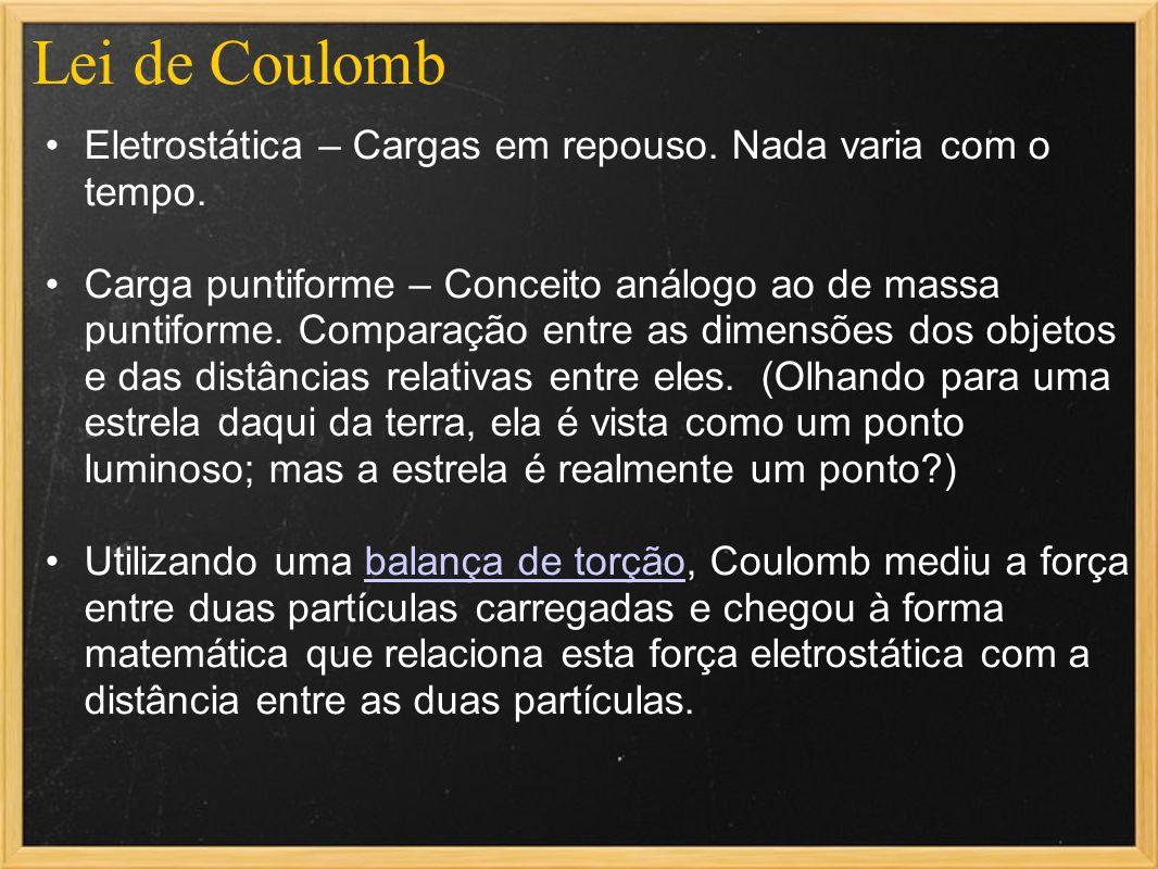 Lei de CoulombEletrostática – Cargas em repouso. Nada varia com o tempo.