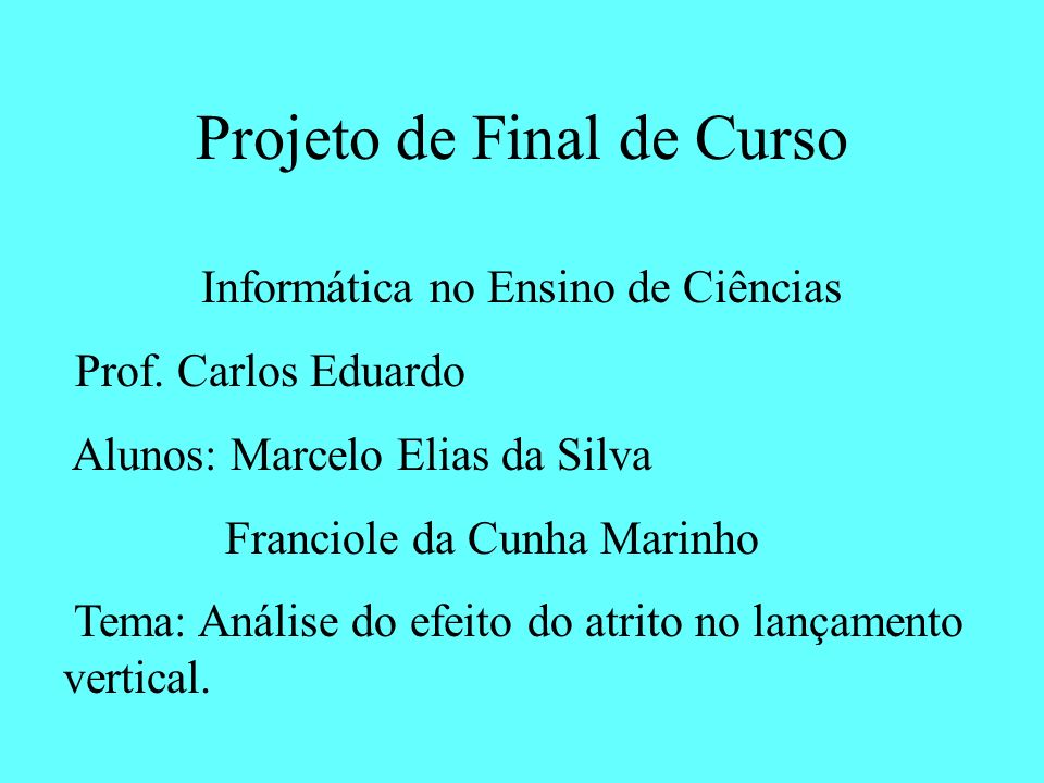 Projeto de Final de Curso