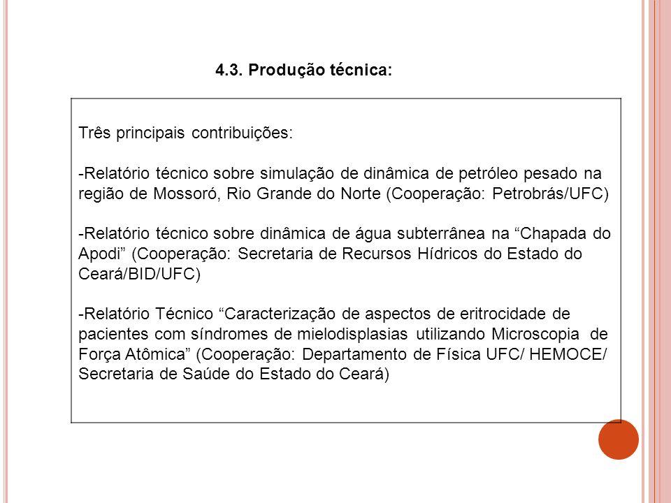 4.3. Produção técnica: Três principais contribuições: