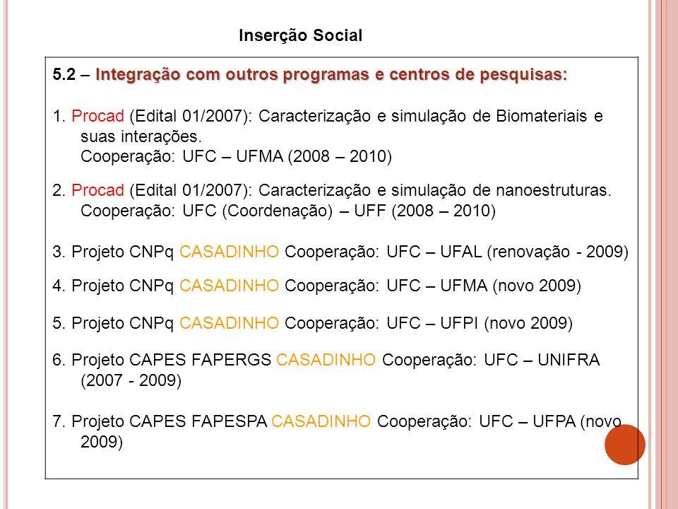 Inserção Social 5.2 – Integração com outros programas e centros de pesquisas: