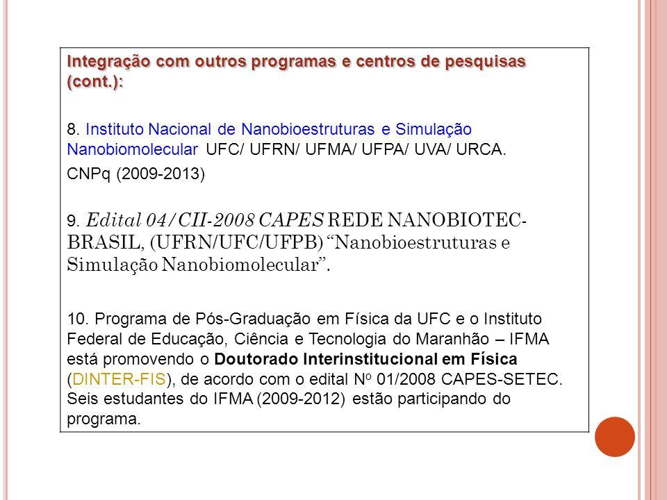 Integração com outros programas e centros de pesquisas (cont.):