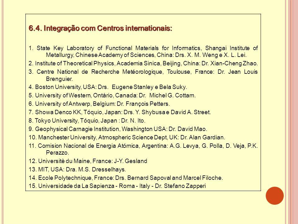 6.4. Integração com Centros internationais: