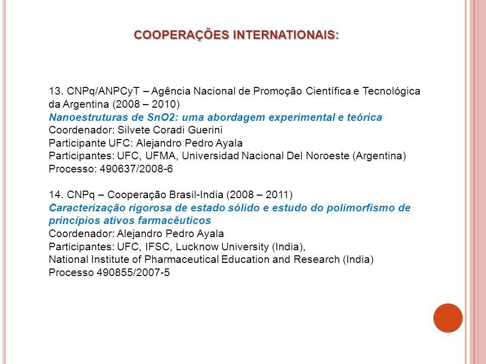 COOPERAÇÕES INTERNATIONAIS:
