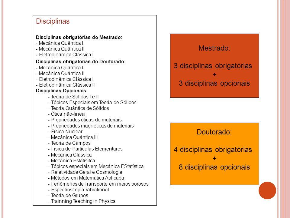 3 disciplinas obrigatórias + 3 disciplinas opcionais