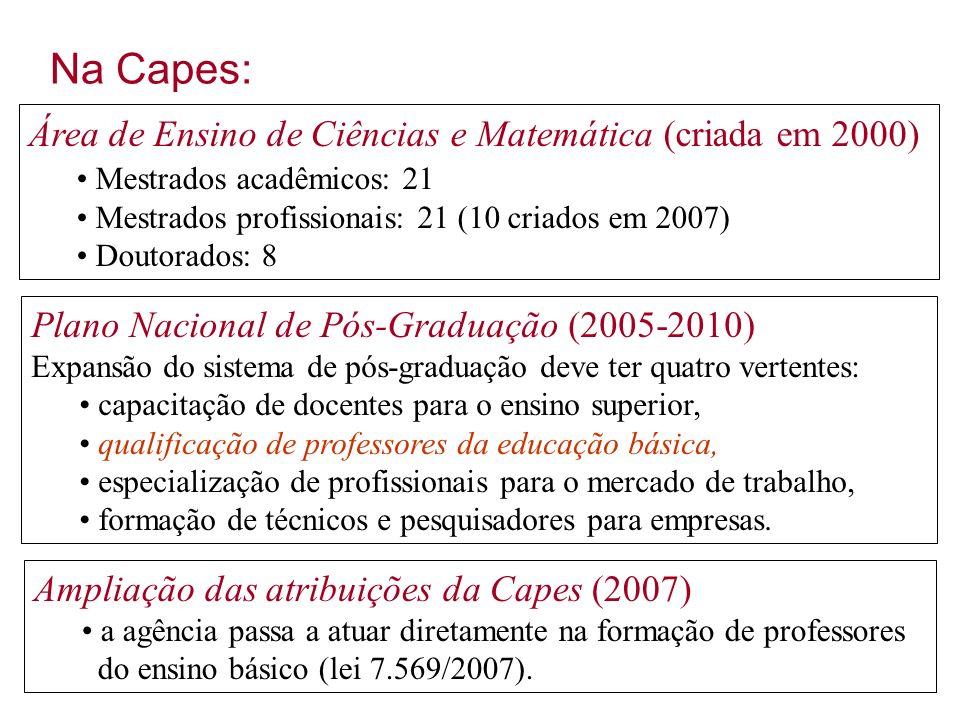Na Capes: Área de Ensino de Ciências e Matemática (criada em 2000)