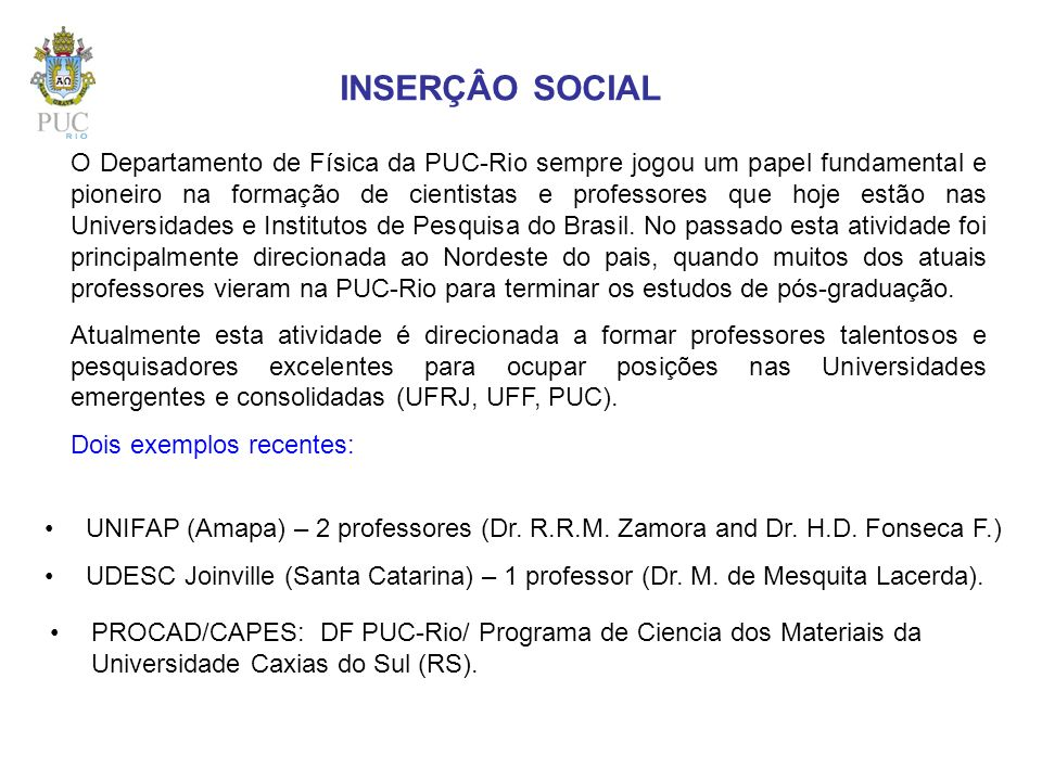 INSERÇÂO SOCIAL