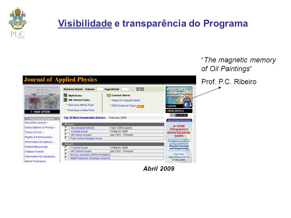 Visibilidade e transparência do Programa