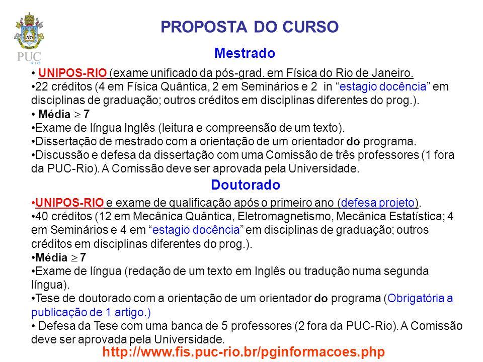 PROPOSTA DO CURSO Mestrado Doutorado