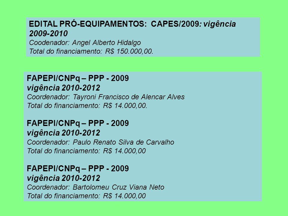 EDITAL PRÓ-EQUIPAMENTOS: CAPES/2009: vigência 2009-2010