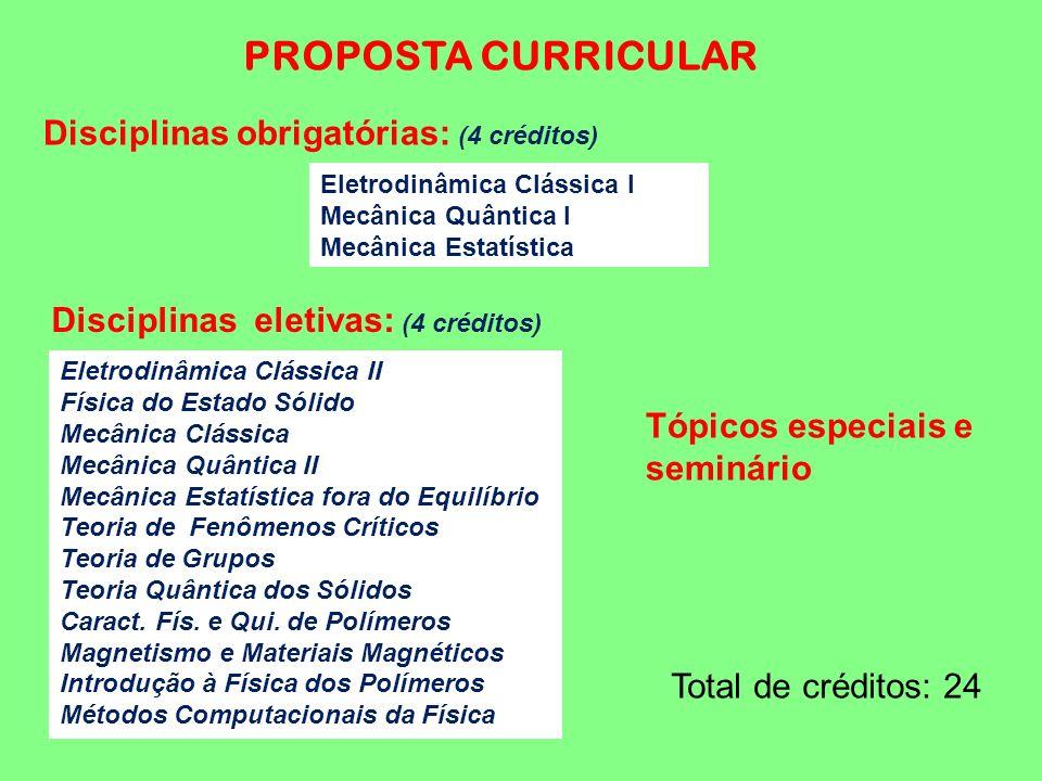 PROPOSTA CURRICULAR Disciplinas obrigatórias: (4 créditos)