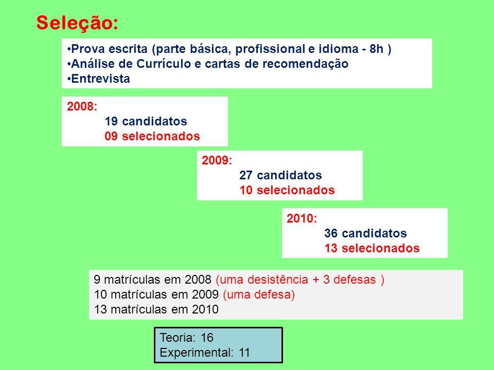Seleção: Prova escrita (parte básica, profissional e idioma - 8h )