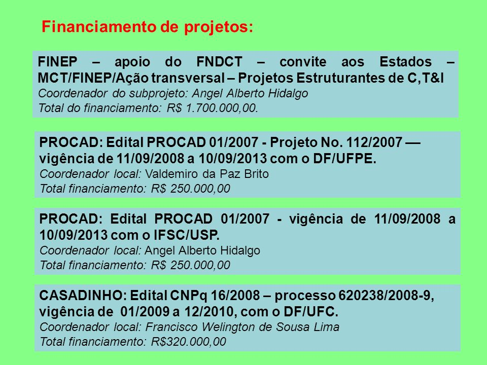 Financiamento de projetos: