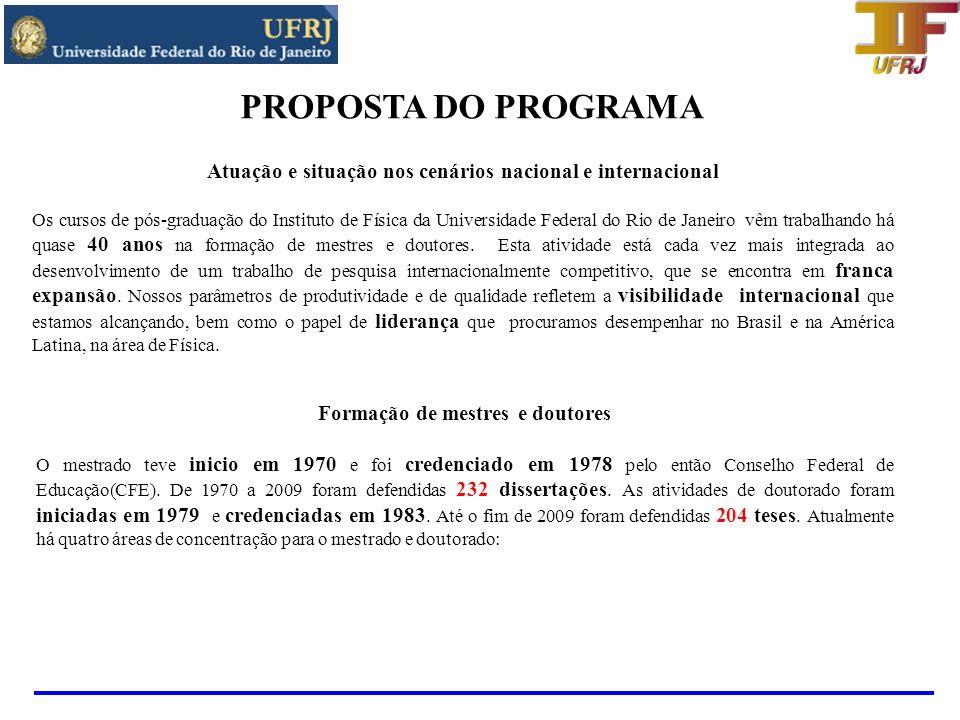 PROPOSTA DO PROGRAMA Atuação e situação nos cenários nacional e internacional.