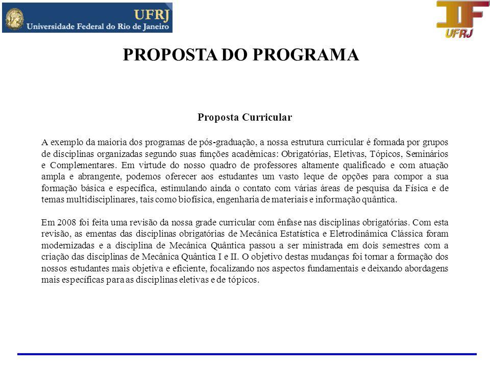 PROPOSTA DO PROGRAMA Proposta Curricular