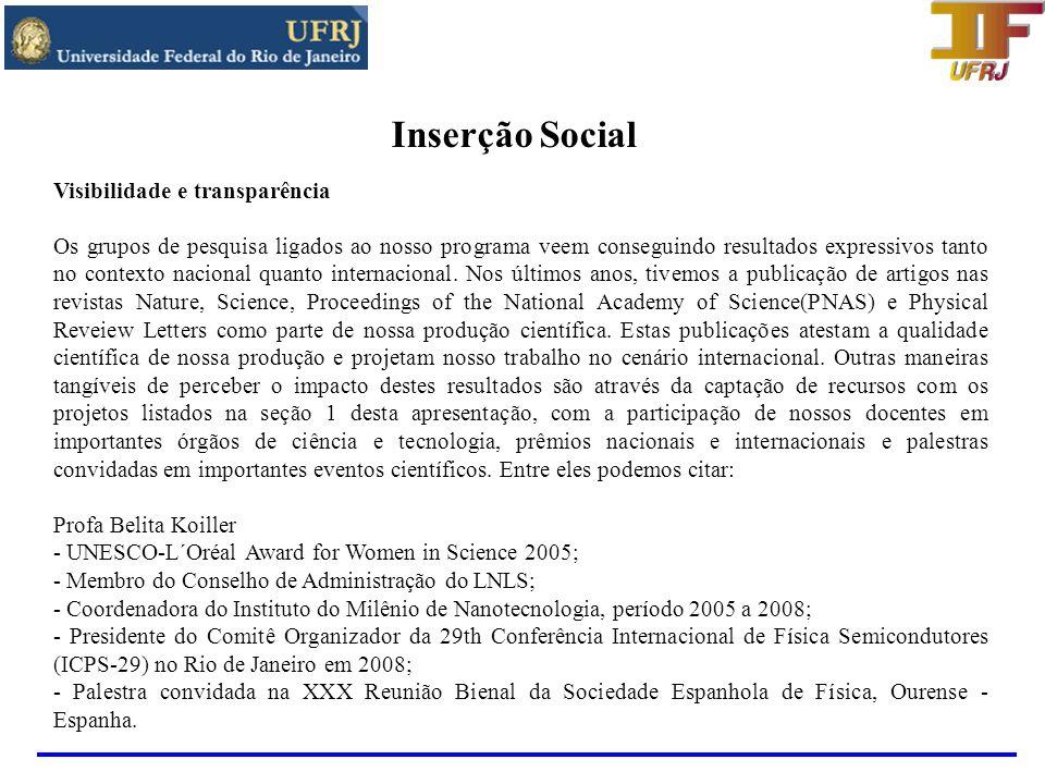 Inserção Social Visibilidade e transparência