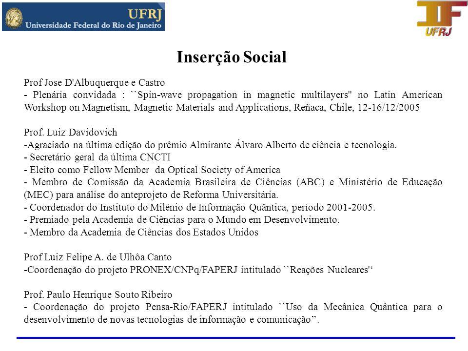 Inserção Social Prof Jose D Albuquerque e Castro
