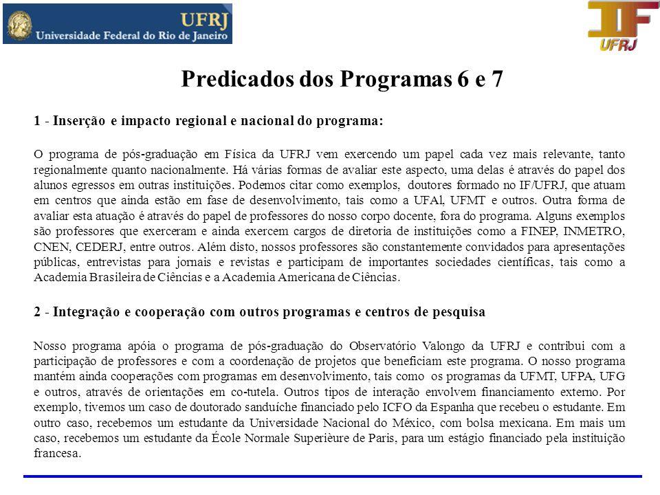 Predicados dos Programas 6 e 7