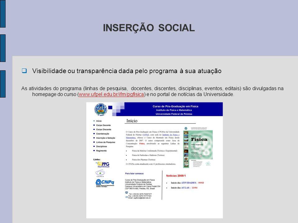INSERÇÃO SOCIAL Visibilidade ou transparência dada pelo programa à sua atuação.