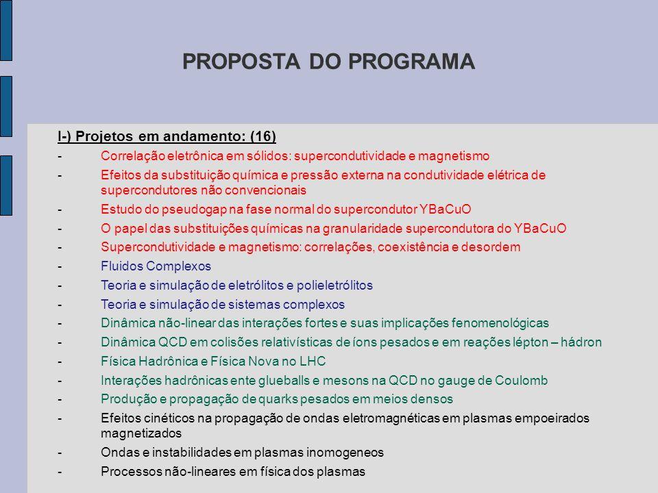PROPOSTA DO PROGRAMA I-) Projetos em andamento: (16)