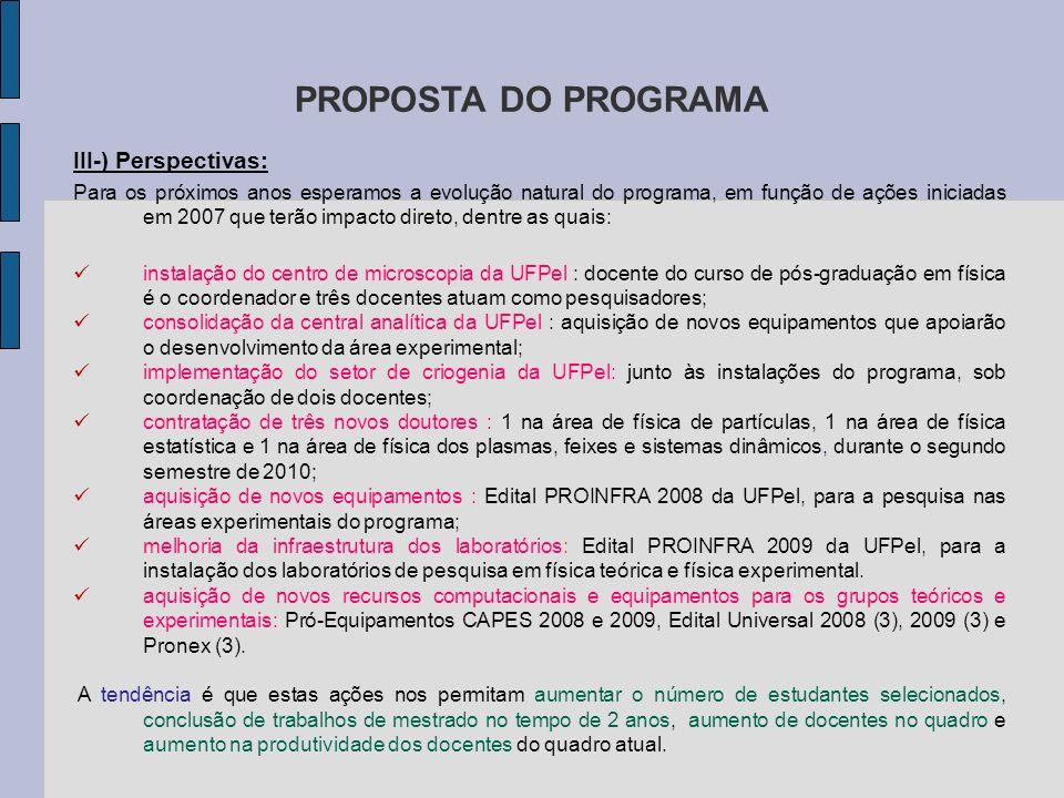 PROPOSTA DO PROGRAMA III-) Perspectivas: