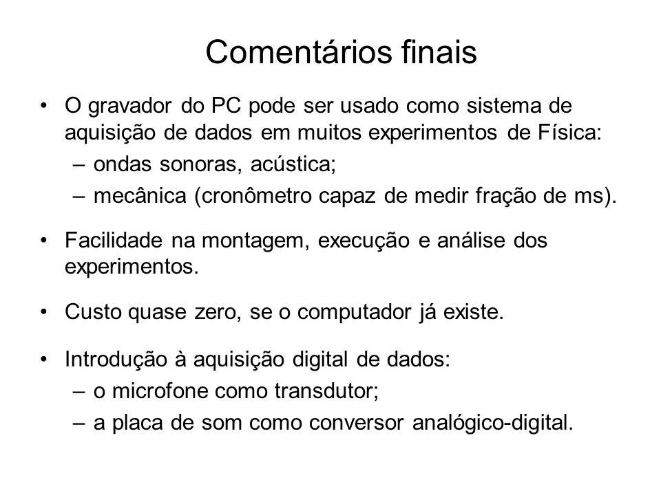 Comentários finais O gravador do PC pode ser usado como sistema de aquisição de dados em muitos experimentos de Física: