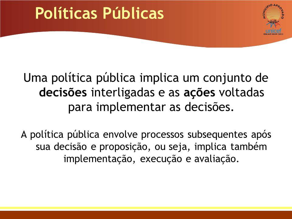 Políticas Públicas Uma política pública implica um conjunto de decisões interligadas e as ações voltadas para implementar as decisões.