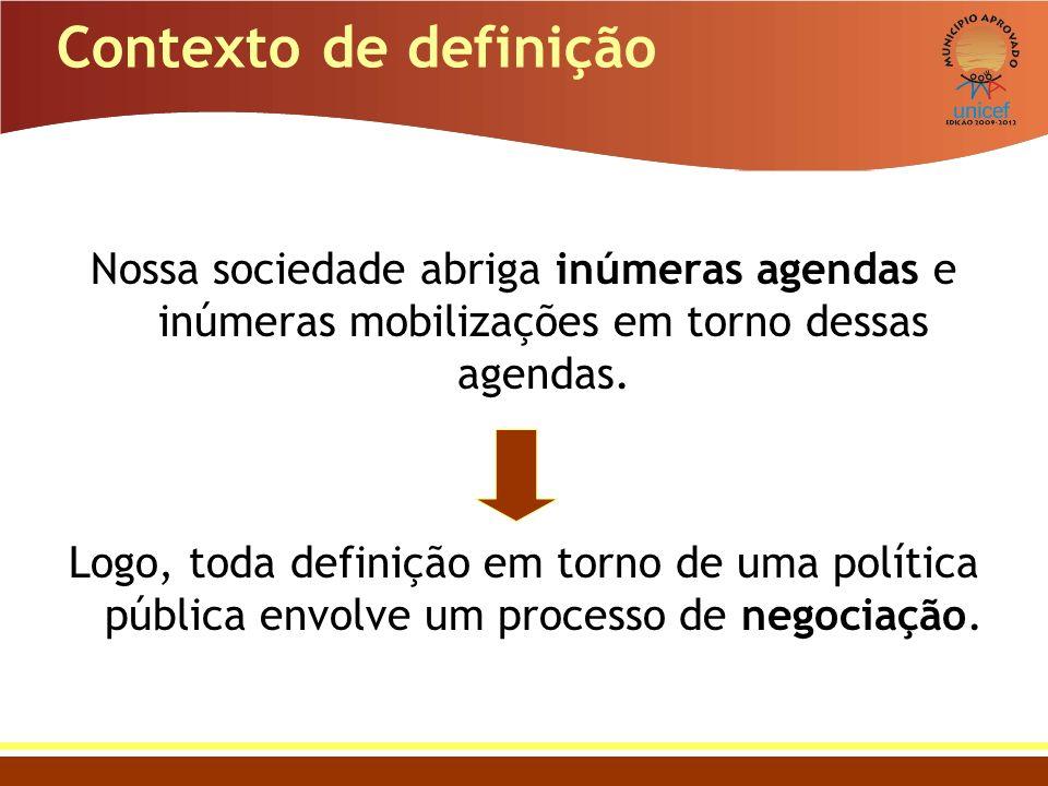 Contexto de definição Nossa sociedade abriga inúmeras agendas e inúmeras mobilizações em torno dessas agendas.