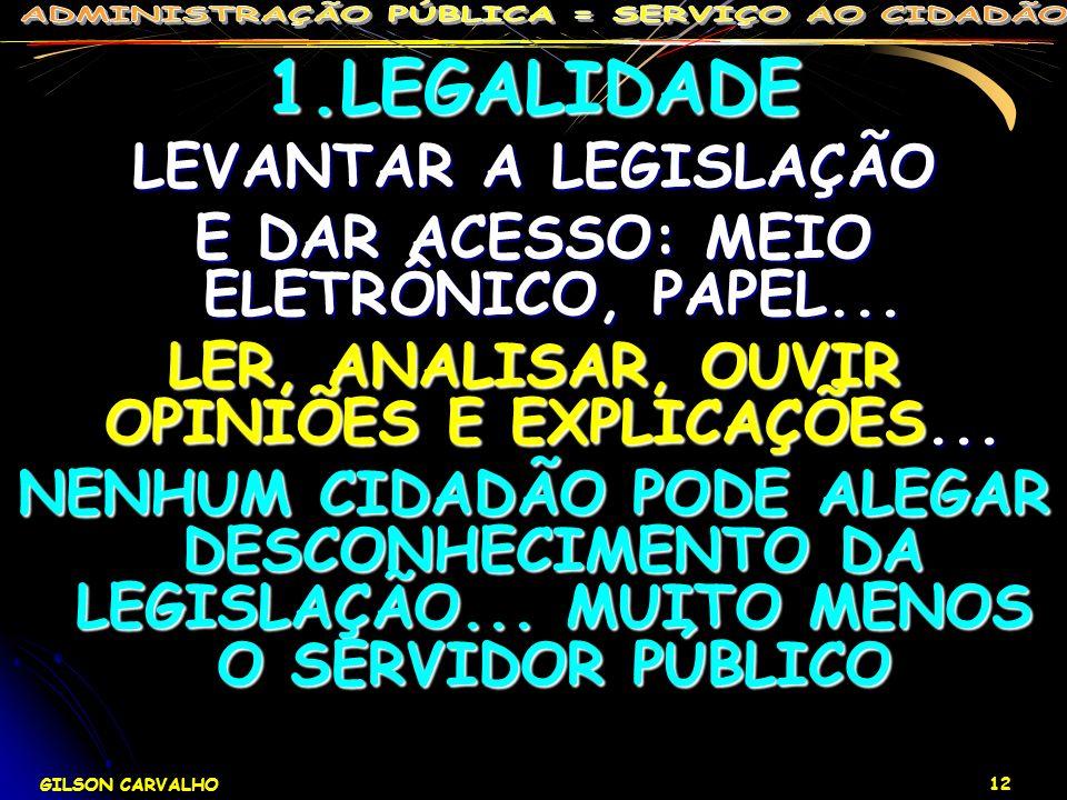 1.LEGALIDADE LEVANTAR A LEGISLAÇÃO
