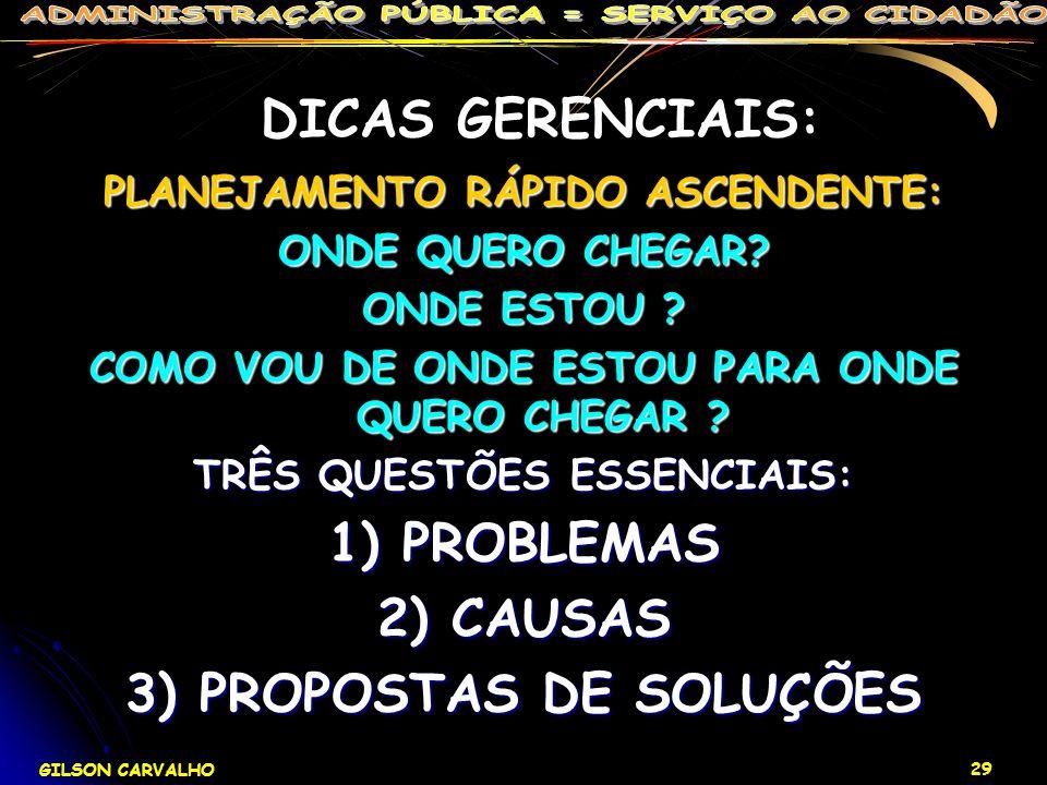 DICAS GERENCIAIS: 1) PROBLEMAS 2) CAUSAS 3) PROPOSTAS DE SOLUÇÕES