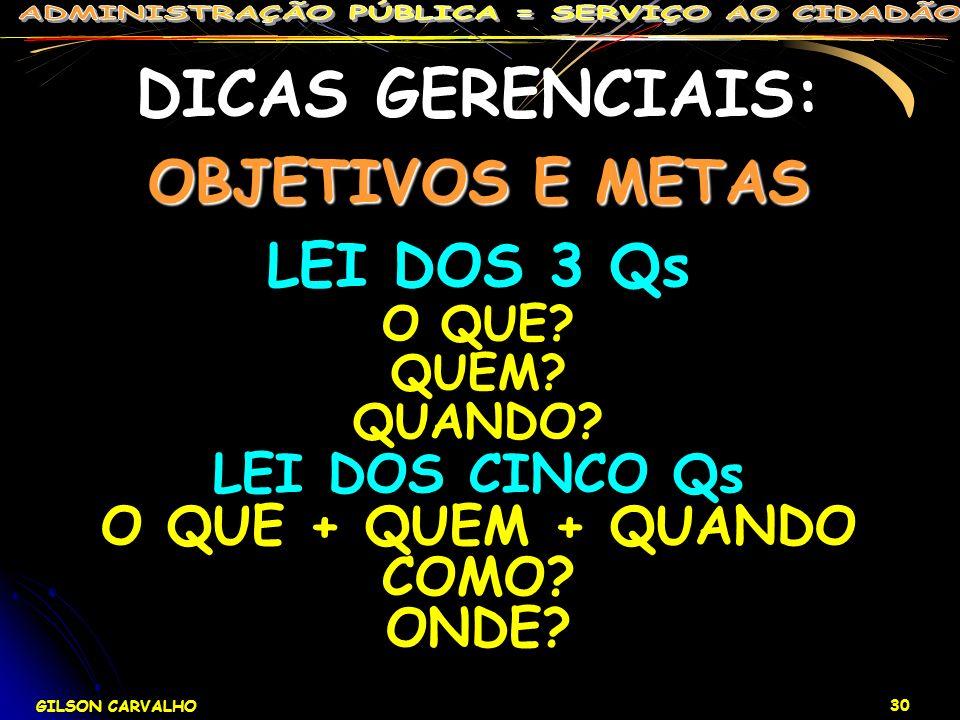 DICAS GERENCIAIS: OBJETIVOS E METAS LEI DOS 3 Qs LEI DOS CINCO Qs