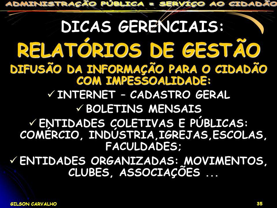 DICAS GERENCIAIS: RELATÓRIOS DE GESTÃO