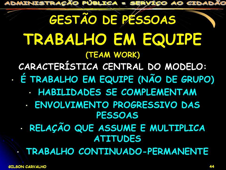 TRABALHO EM EQUIPE GESTÃO DE PESSOAS CARACTERÍSTICA CENTRAL DO MODELO: