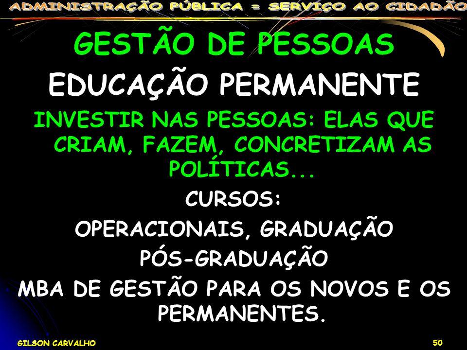 OPERACIONAIS, GRADUAÇÃO MBA DE GESTÃO PARA OS NOVOS E OS PERMANENTES.