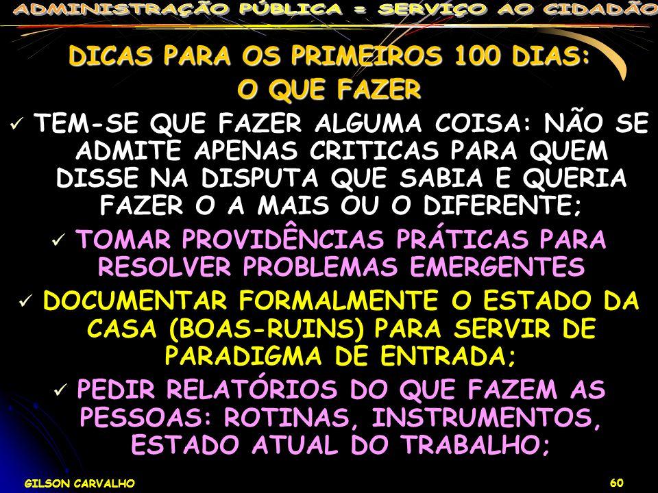 DICAS PARA OS PRIMEIROS 100 DIAS: O QUE FAZER