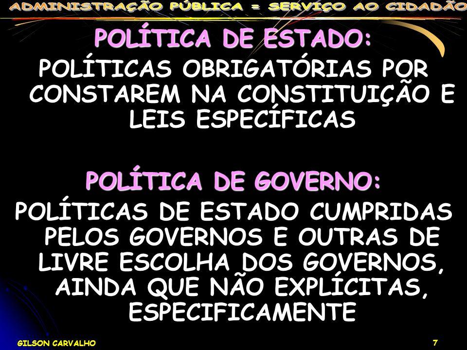 POLÍTICA DE ESTADO: POLÍTICAS OBRIGATÓRIAS POR CONSTAREM NA CONSTITUIÇÃO E LEIS ESPECÍFICAS. POLÍTICA DE GOVERNO: