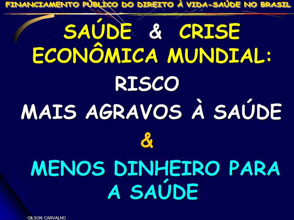 SAÚDE & CRISE ECONÔMICA MUNDIAL: MENOS DINHEIRO PARA A SAÚDE