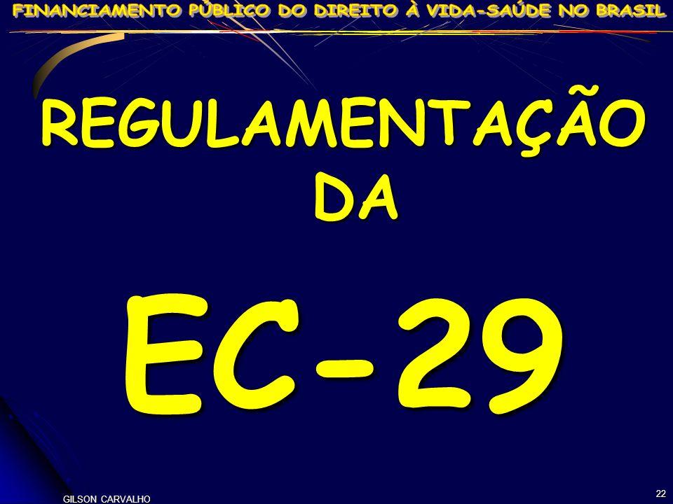 REGULAMENTAÇÃO DA EC-29 22 GILSON CARVALHO