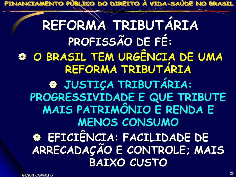 REFORMA TRIBUTÁRIA PROFISSÃO DE FÉ: