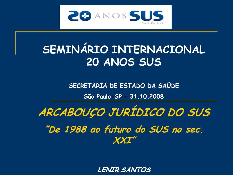 SEMINÁRIO INTERNACIONAL 20 ANOS SUS ARCABOUÇO JURÍDICO DO SUS