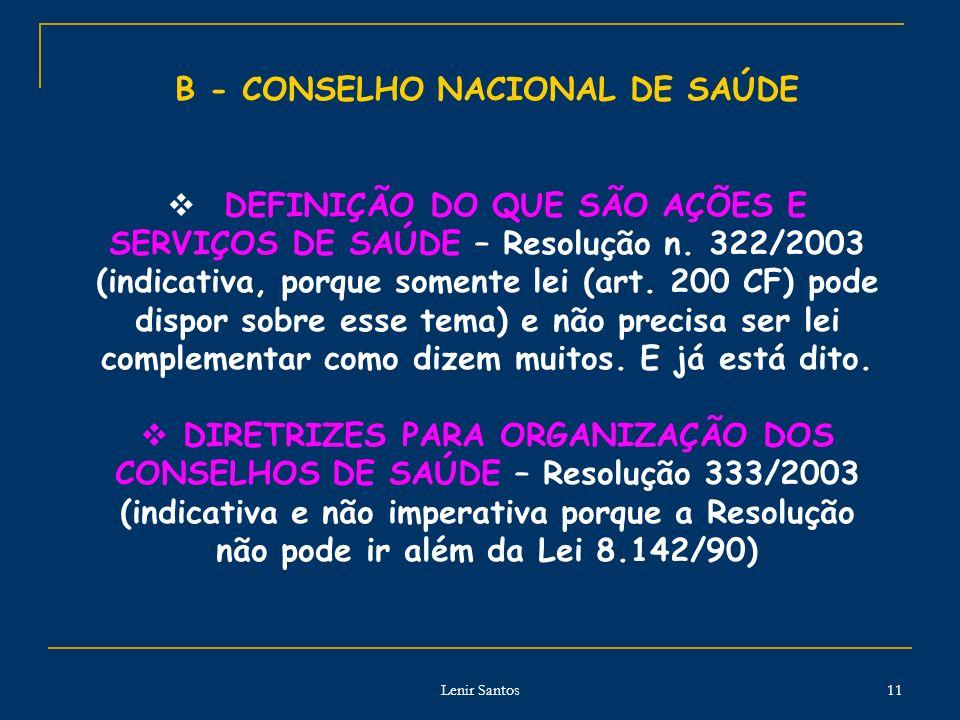B - CONSELHO NACIONAL DE SAÚDE